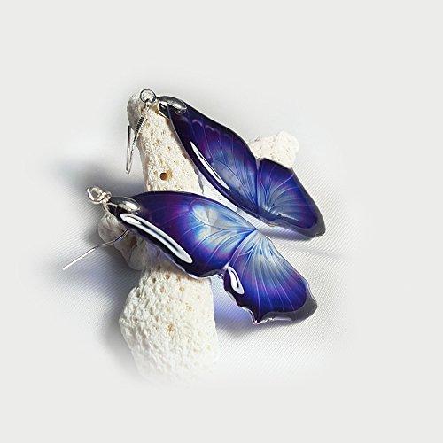 Transparent Purple Violet Butterfly Wings Earrings
