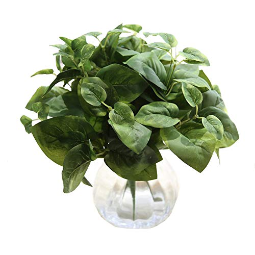 Sunrisee 2pcs Artificial Shrubs 14 Silk Scindapsus Leaf Bushes Faux Plants for Home Kitchen Dining Table Garden Wedding Mini Pot Outdoor Decor, Green