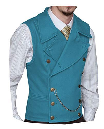 Mens Suit Suede Double Breasted Vest Classic Groomsmen Wedding Waistcoat Leather Big Lapel