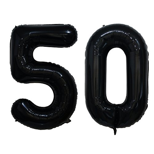 Langxun 50th Black Foil Number 50 Balloons for Birthday Party Supplies, Anniversary and Photo Booth Props
