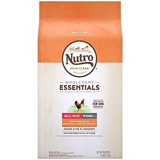 NUTRO WHOLESOME ESSENTIALS Small Breed Senior Natural Dry Dog Food, Farm-Raised Chicken, Brown Rice & Sweet Potato Recipe Dog Kibble, 5 lb. Bag