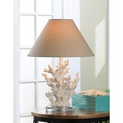 White Coral Style Sculpture Table Lamp Stainless Steel Square Base Beach Decor