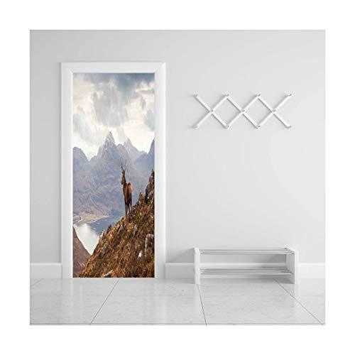 HappyShopDecoration Door Decal Wall Murals 3D Vinyl Wallpaper Stickers for Room Decor,30.3x78.7 inches,Deer Decor