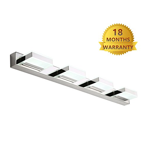 Mirrea 16W Modern LED Vanity Light In 4 Lights, Stainless Steel And  Acrylic, Cold White