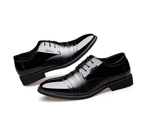 Chaussures en Cuir pour Hommes d'affaires Occasionnels Chaussures Habillées Lacets Chaussures en Cuir Classique Diner De Gala Black l0NJl