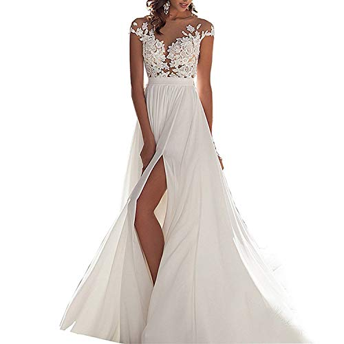 (GBWD Women's Wedding Dress Beach Lace Chiffon Wedding Bridal Gowns Plus Size Vestido de Novia White)