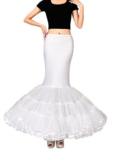 (Edith qi Women's Trumpet Mermaid Bridal Petticoat Crinoline Slips Underskirt,White,L(waist 70CM-120CM))
