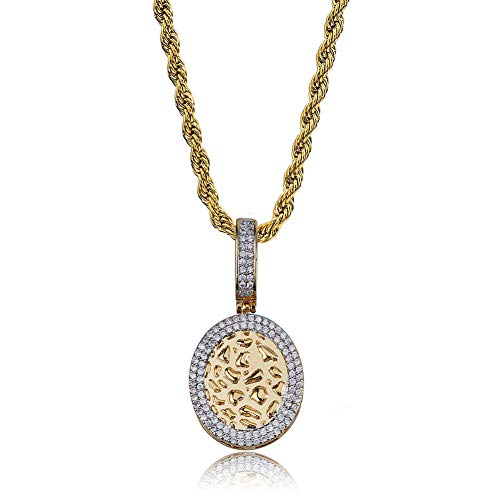Oval Setting Pendant Cluster - TOPGRILLZ Men's 14K Gold Plated Cluster Diamond CZ Drop Oval Dog Tag Pendant Necklace (Gold Oval Drop)