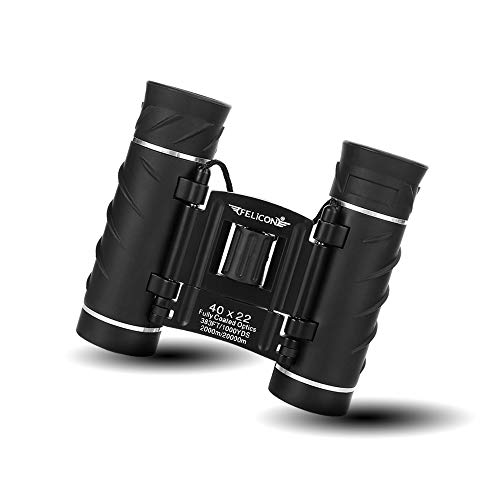 40x22 Compact Mini Binoculars for Adults, Small Lightweight High Powered Binocular Telescope for Bird Watching Travel Concerts Theater Opera Camping and Hiking, with Weak Light Night Vision (Black)