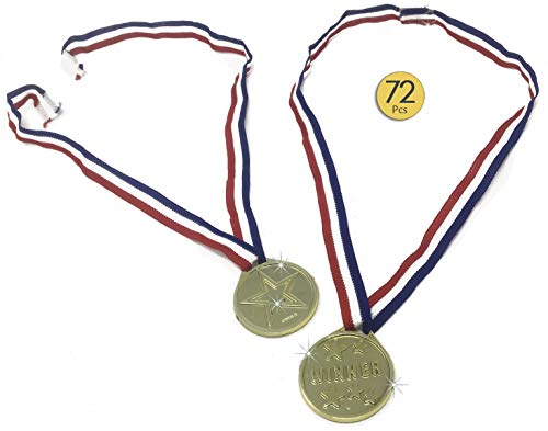72 Pieces Gold Medals - Award Medals - Winner Medals - Winner Award Ribbons  Necklaces for Kids - Velcro Closure Neck Ribbons - For Kids - Bulk