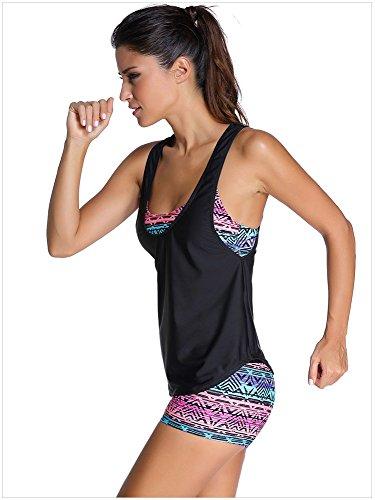 Minetom Traje De Baño Cintas Hombros Sobre Mujer Tankinis Bañador Tres Piezas Bikini Top Short Chaleco Sport Yoga Beach Negro2