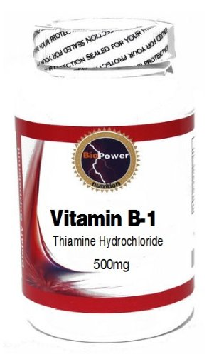 Vitamin B-1 (Thiamine Hydrochloride) 500mg 100 Capsules # BioPower Nutrition
