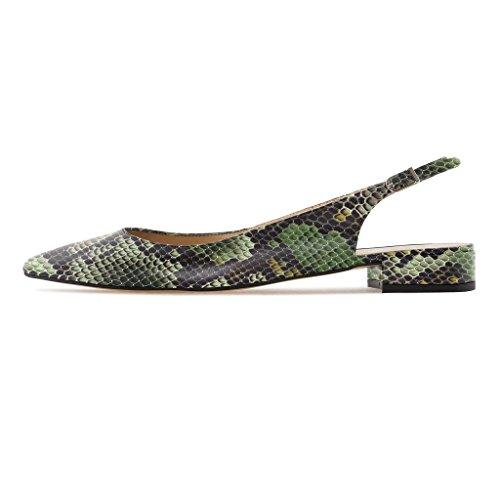 Toe Verde 2 Cinturino Tacco Caviglia 2CM Alla donna Slingback da a Python Blocco Scarpe Pointed Pumps Con Soireelady Sandali UzqwH