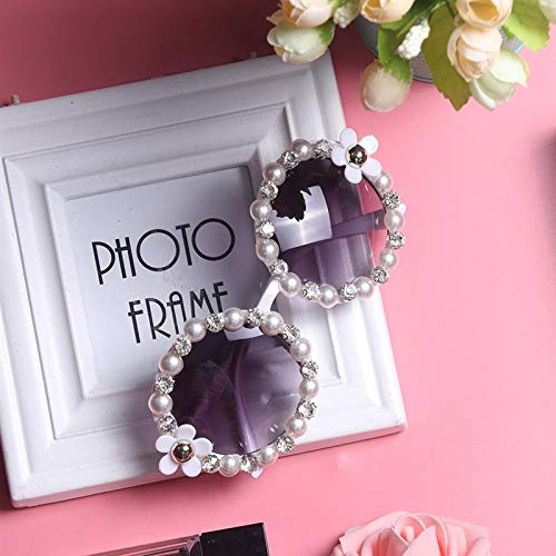 1 Pc Rhinestones Shades Sunglasses Beach Fashion Handmade Blume Perle Rund Gift For Friends Lovers Car Accessories (Runde Shades)