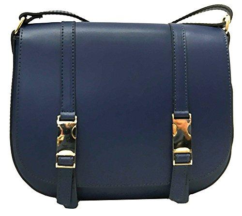 Ana&Cris - Bolso Piel Italiano AF1703, diseño y calidad, para el día a día. Azul