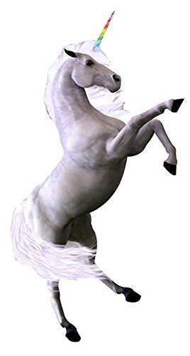 Aahs Engraving White Rainbow Unicorn Cardboard Stand Up,