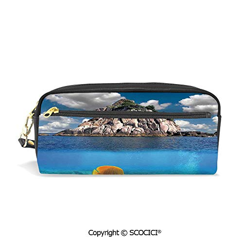 Students PU Pencil Case Pouch Women Purse Wallet Bag Tropical Paradise Corals Fishes Small Island KOH Tao Island Thailand Waterproof Large Capacity Hand Mini Cosmetic Makeup Bag