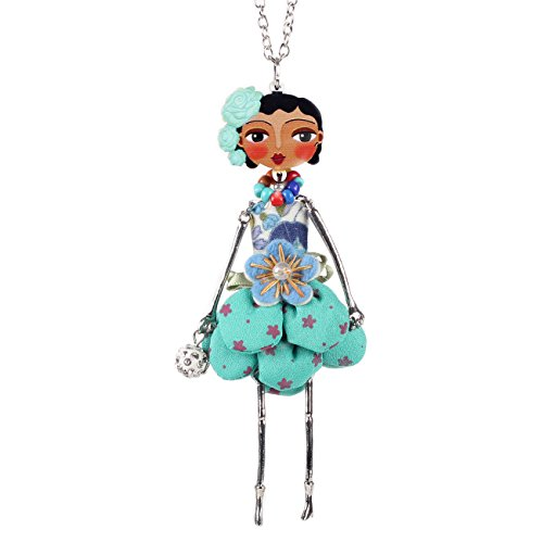 Bonsny Necklace Paris Doll Dress Handmade Pendant trendy News Alloy Flower Fashion Jewelry ()