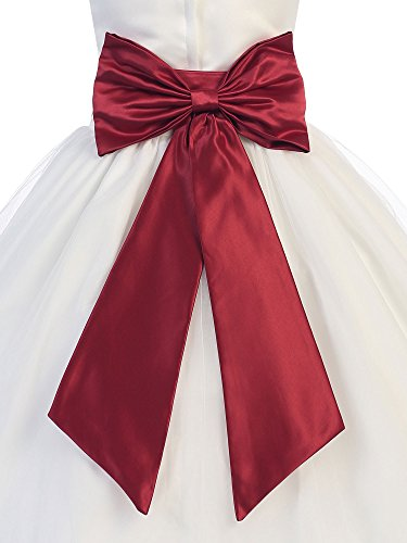 Sash Medium (Bello Giovane Satin Flower Girl Sash Belt with Bow (Medium, Burgundy))