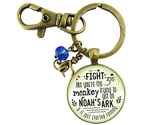 - Monkey Keychain Fight Like You're The Third Noah's Ark Inspired Life Survivor Pendant Womens Fun Jewelry