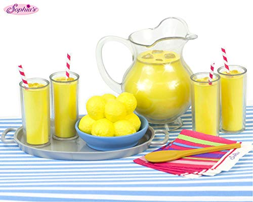 Lemonade Doll Food Play Specialty Serving Set, Includes Doll Pitcher, Doll Serving Tray, Bowl of Lemons, 4 Lemonade Drinks, 4 Napkins, Wood Serving Spoon & Table Runner. For 18 Inch - Food Girl American