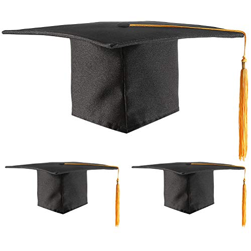 3 Pieces Unisex Adult Graduation Cap Student Graduation Hat with Adjustable Tassel for Men and Women Accessory Supplies (Gold Tassel) ()