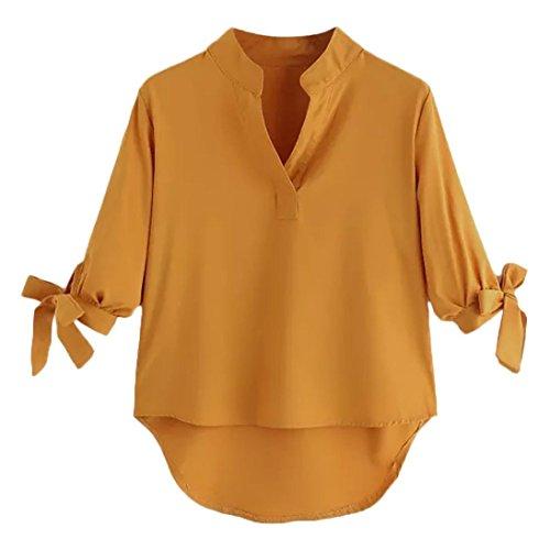Solide V Col Papillon ITISME Grand Manches Femme Top en Chemise Shirt IrrGuliRe Trois T Quarts Blouse Bandage Jaune w4wqWHEXr