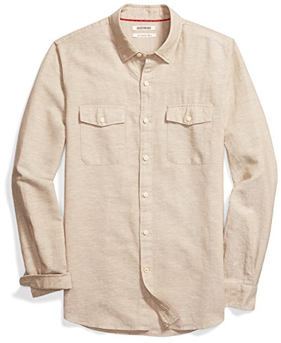 Goodthreads Men's Slim-Fit Long-Sleeve Linen and Cotton Blend Shirt, Khaki, (Cotton Linen Khakis)