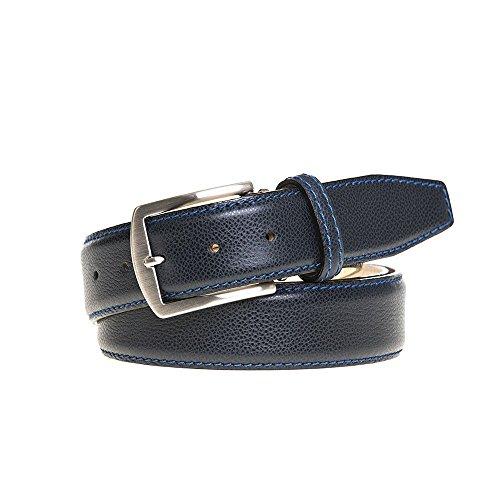 Navy Italian Pebble Leather Belt