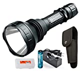 OLIGHT Rechargeable M2X UT 1020 Lumens 885 Yards Long Throwing Cree XM-L2 LED Rechargeable Tactical Flashlight Searchlight w 2600mAh Battery, Charger & Lumen Tactical Battery Organizer Review