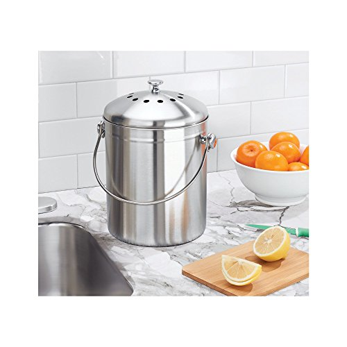 mDesign Stainless Steel Compost Pail Bin with Handle for Kitchen Countertops and Under Sink – 1.3 Gallon Capacity – Double Filtration System – Charcoal Filters Included - Brushed Stainless Steel