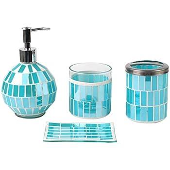 Amazon.com: Dwellza Mirror Janette Bathroom Accessories Set, 4 ...