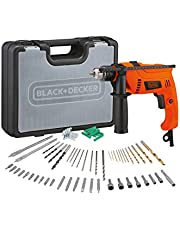 Black+Decker 650W 13mm Corded Electric Hammer Percussion Drill with 50 Pieces Accessories Bit Set in Kitbox for Metal, Concrete & Wood Drilling, Orange/Black - HD650KIT-B5, 2 Years Warranty