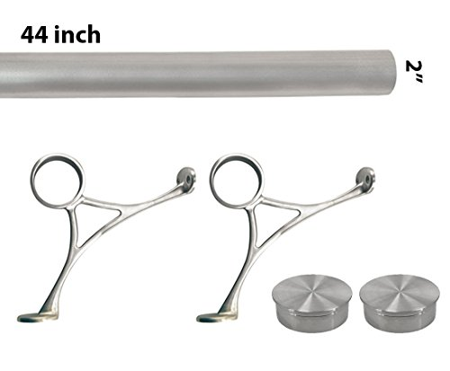 Top Hardware Bar Foot Rail Kit (Custom-made Item) - Brushed Stainless Steel Tubing (2 in OD, 44 in Long) - Combination Foot Rail Brackets - Flat End Caps