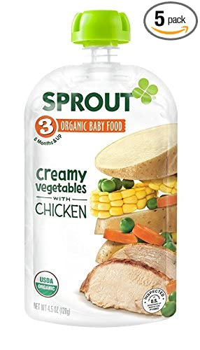 Sprout Organic Baby Food Stage 3 Pouches Creamy Vegetables With