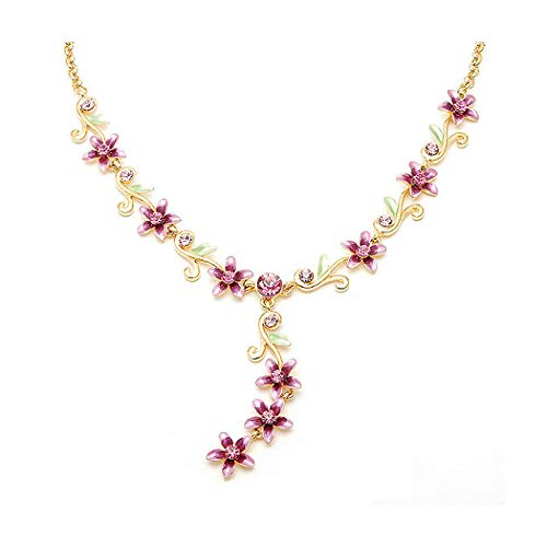 Glamorousky Flowers Golden Necklace with Austrian Element Crystals 1767