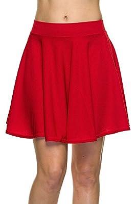 ShezPretty WomensBasic Versatile Stretchy Flared Skater Skirt