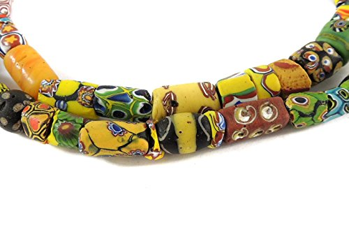 Millefiori Venetian Trade Beads Mixed Africa 29 inches - Old Venetian Trade Beads