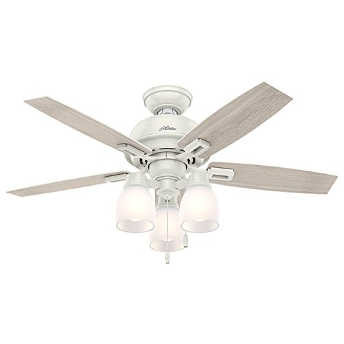 Hunter Fan Donegan Collection Fresh White 44-inch Ceiling Fan and Light - Malls Boston Shopping
