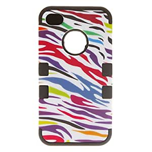 3-in-1 Design Colorful Zebra Print Pattern Protective Case for iPhone 4/4S (Assorted Colors) --- COLOR:Black