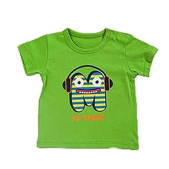 BebePan Green Cotton Round Neck T-Shirt For Boys