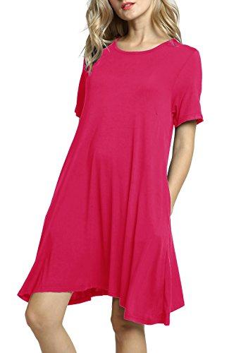 Cotton Shift (Afibi Women's Short Sleeve Loose Pockets Dress Casual Swing T-Shirt Dresses (X-Large, Coral))