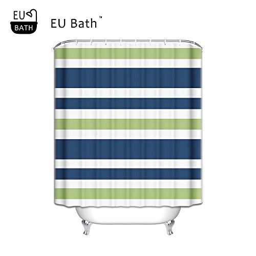 EU Bath Navy Blue Lime Green And White Custom Bathroom Stripes Shower Curtain Polyester Bathroom Shower Curtain Spa Decor Bathroom Decoration Mildew Waterproof Magical Shower Curtain 72