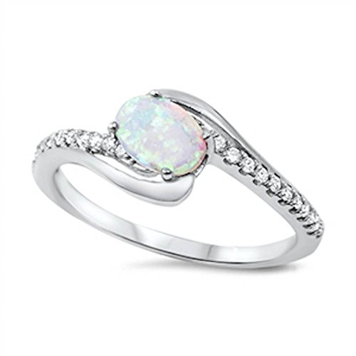 Oval Fire White Lab Created Opal & Cubic Zirconia .925 Sterling Silver Ring Size 4-12