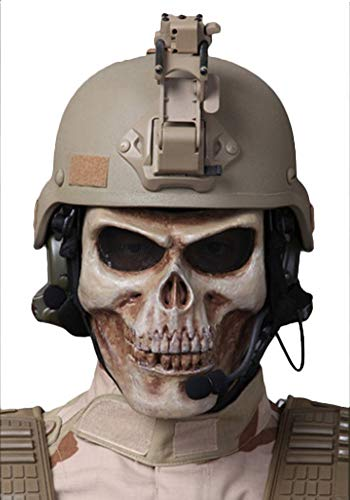 Chief Full Face Masks Cosplay Facial Mask Halloween Masks Skull Mask Scary Mask Skeleton Mask Halloween Accessories with Metal Mesh Eye Protection for Outdoor CS, Hunting, Army Tactical, War Game, Air ()