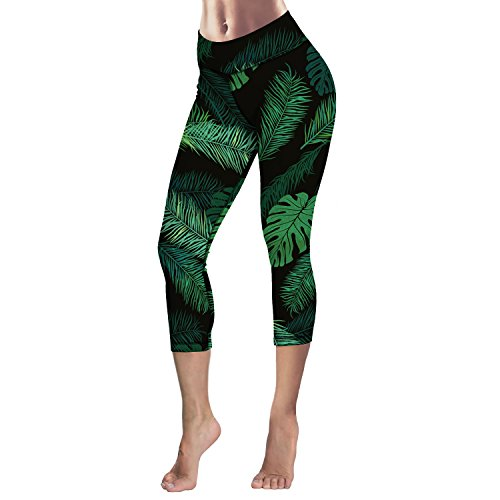 Queen Area Women¡¯s Tummy Control Palm Tree Printed Yoga Capri Leggings Workout Running Active Pants Tights M