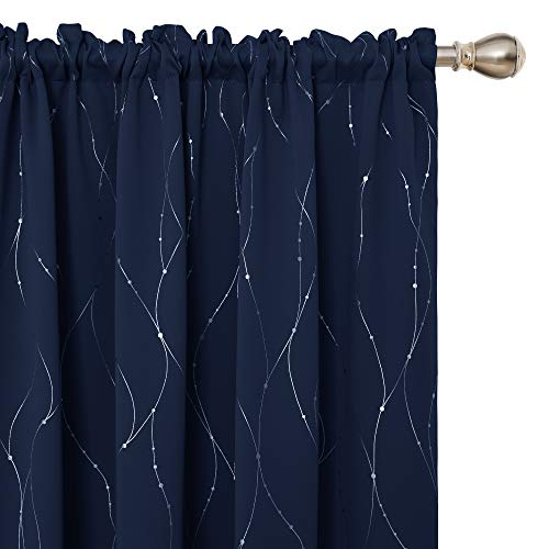 Deconovo Blackout Curtains Wave Line with Dots Rod Pocket Curtain Panels for Bedroom and Living Room