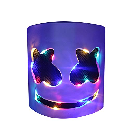 DJ LED Mask - Music Festival Party Light Up Mask Cosplay Costume - Carnaval Halloween Disco Headgear Prop Latex Full Head Hat - Carnival DJ Helmet White