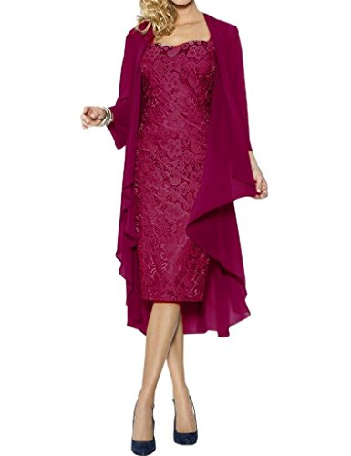 Tea Fuchsia Length Bride of the Fanciest Silver Dresses Lace Mother with Women's Jacket AB6wS