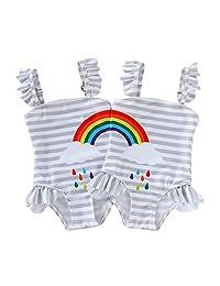 DEFAHN Toddler Baby Girls Swimsuit One-Piece Swimwear Rainbow Stripe Ruffle Bathing Suit Bikini 2 Pack for Twins